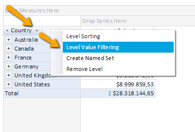 olap level filtering